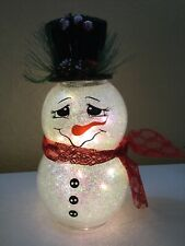 "CUTE- Glass 10"" tall Snowman w/battery Operated Lights Winter Holidays Christmas"