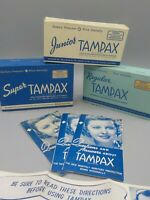 3 Vintage 1940's Tampax Tampon Empty Store Display Box Boxes w/Directions