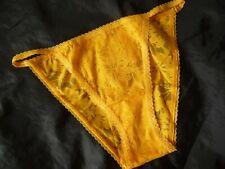 XL, Victoria's Secret PINK Lace String Bikini panty, Yellow, nylon, NEW