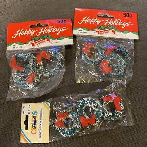 "9 Vintage Dollhouse Miniature Christmas bristle bottle Wreath with Bow 1 1/2"""