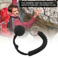Black Paracord Emergency Outdoor Survival Kit Keychain with Steel Ball JJS