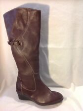 Ladies Brown Knee High Leather Boots Size 5