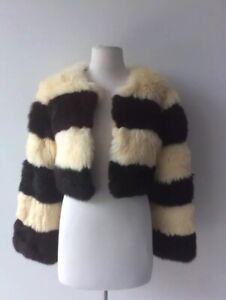 Kirrily Johnston Faux Fur Fluffy Striped Jacket Size 8 S Silk