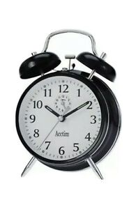 Acctim Saxon Traditional Double Bell Wind Up Alarm Clock - Black 12623 New