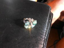 BLUE CRYSTAL BUTTERFLY WITH JEWELLED BODY, PREETY COUTURE RING, ADJ