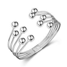 Fashion Retro Unisex 925 Silver Plated Punk Bangle Cuff Beads Bracelet Jewelry