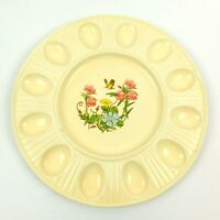 Treasure Craft Pink Blue Yellow Floral Ceramic Deviled Egg Oyster Dish Plate USA