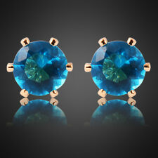 Sale! Lady Aquamarine Yellow Gold Plated Plated Stud Earrings Fashion Jewelry