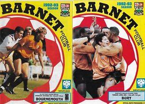 BARNET HOME PROGRAMMES SEASON  1992 - 1993