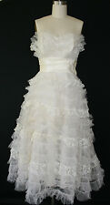 Vintage 50s White Dress Prom Wedding Cupcake Tulle Tier Ruffle Lace Rockabilly