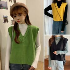 Womens Loose Knitted Tank Top Sleeveless Jumper Sweater Vest V-Neck Pullover New