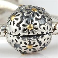 NEW 925 Sterling Silver European Bracelet Clip Charm Bead Floral 14K