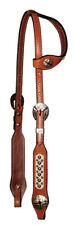 "Circle Y 5/8"" One Single Ear Headstall with White Hair-On Cowhide and Spots"