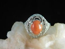 1.55 Ct. Oval Cabochon Red Coral Ring 1920's Style Sterling Silver