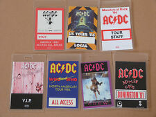 AC/DC - Collection of SEVEN (7) Laminated Backstage Tour Passes