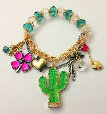 B279 Betsey Johnson Cactus Desert Green Lucky Shamrock Heart Beaded Bracelet UK