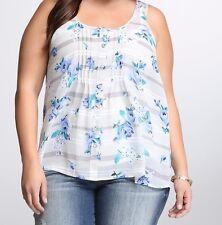 Torrid Floral Stripe Chiffon Tank Top Shirt Size 4 aka 24 26 #3090