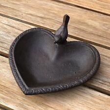 Vintage Style Cast Iron Heart Shape Bird bath feeder Robin Birds Outdoor Garden
