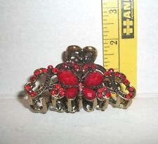 NEW BEAD RHINESTONE EMBELLISHED HEAVY METAL ORNATE BUTTERFLY SPRING HAIR CLIP
