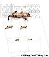 Cool Chilling Tabby Cat Letter Writing Paper & Envelopes Stationery Set