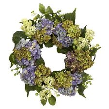 Nearly Natural 4781 Hydrangea Wreath- 22-Inch- Purple/Green