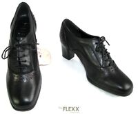 THE FLEXX - BOTTINES LOW BOOTS LACETS TALONS 6 CM CUIR NOIR ROUGE 37 - NEUF