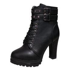 Women Ladies Rivet Shoes Short Boots High Heels Platform Pumps Sexy Lace Up Size