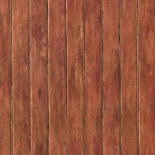 Wallpaper Country Faux Wood Bead Board Paneling Russet Rust Black