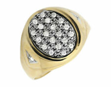 Men's Solid 10k Yellow Gold Oval Shape Top Real Diamond Pinky Ring 0.25ct.