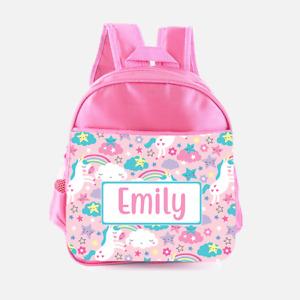 Personalised Unicorns Cloud Girls Pink  Kids Backpack, Children's School Bag