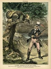 JAY GOULD AS A COON TELEGRAPH MONOPOLY UNCLE SAM AS DAVY CROCKETT POWDER HORN