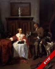 BIRD HUNTER PRESENTING HIS CATCH TO WOMAN WIFE PAINTING ART REAL CANVAS PRINT