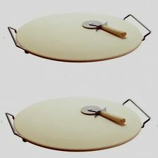 """2 Large Pizza Cooking Stone w Rack and Cutter wheel 15"""" Diameter"""