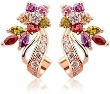 Indian Rose Gold Plated Earrings Cubic Zirconia Jhumka