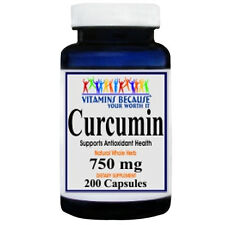 Curcumin 750mg 200 Capsules (Tumeric Root) 95% Curcuminoids by Vitamins Because