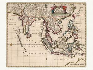 Old Antique Decorative Map of India Indonesia Empire de Wit ca. 1682