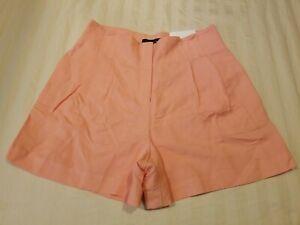 "NEW! Ann Taylor Orange/Peach High Rise Pleated Front Shorts Womens 4 Inseam 4"""