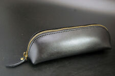 Genuine Leather Pencil Stationery Case Makeup Cosmetic Brush Bag Zipper