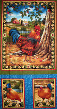Rooster Fabric - Chicken Farm Bird Hen Bershire Farm Liz Dillon VIP - Panel