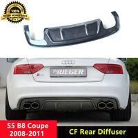 B8 S5 Rear Diffuser Lip Carbon Spoiler Fiber for Audi S5 Coupe 2008-11 R Style