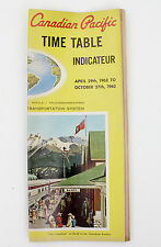 Canadian Pacific Time Table Schedule Indicateur 1962