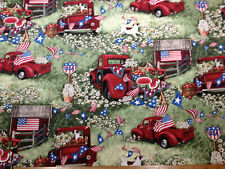 """New listing Patriotic Picnic Blue Green Red Truck Flags Fruit 35""""x45"""" sew quilting fabric *"""
