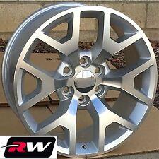 "20"" inch Wheels for Chevy Silverado 5656 5658 Silver Machined Rims & Lug Nuts"