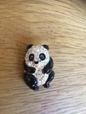 With White Stones. Panda Brooch. Black/Silver