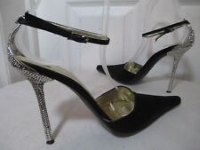 GIANMARCO LORENZI WOMEN'S BLACK SATIN POINTED TOE CRYSTAL HEELS SHOES 39 US 8.5