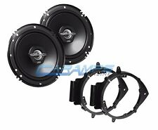 """NEW JVC 6.5"""" 2 WAY CAR STEREO SPEAKERS W/ DOOR MOUNTING INSTALL BRACKET PLATES"""