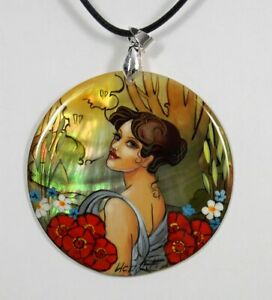 Mother of Pearl Russian Hand Painted Pendant Necklace Art Nouveau style #0923