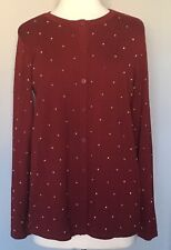 NWT Linea by Louis Dell'Olio Cardigan Sweater with Gold Studs Wine Red Sz M