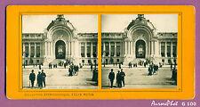 VUE STÉRÉO EXPO UNIVERSELLE 1900 PARIS : L'ENTRÉE ANIMÉE DU PETIT PALAIS-G100