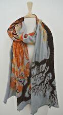 KAPITAL compressed wool Tree Leaf Pattern long oblong scarf Japan Art to Wear